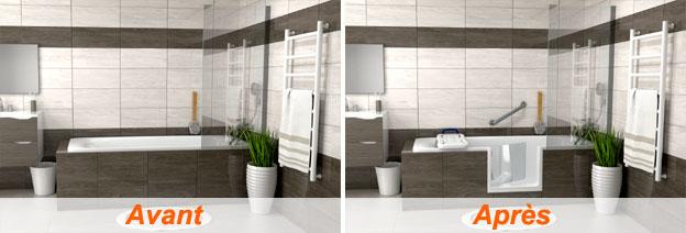 Installations de baignoires à portes