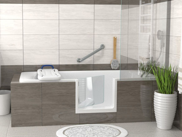 Découpe baignoire avec porte anti-éclaboussure